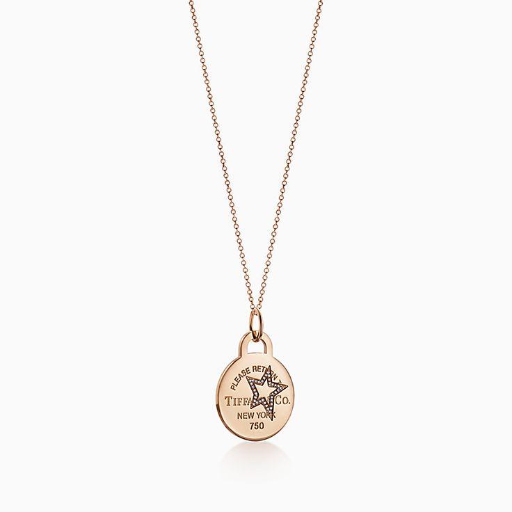 Return to Tiffany™:Charm plaque ronde Étoile gravée