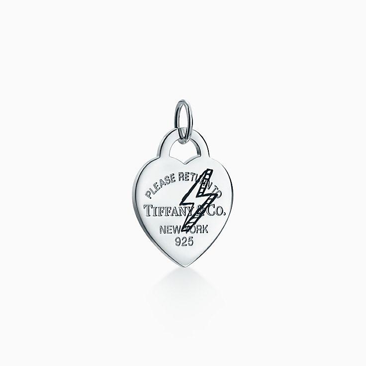 Return to Tiffany™:Etched Lightning Bolt Heart Tag Charm