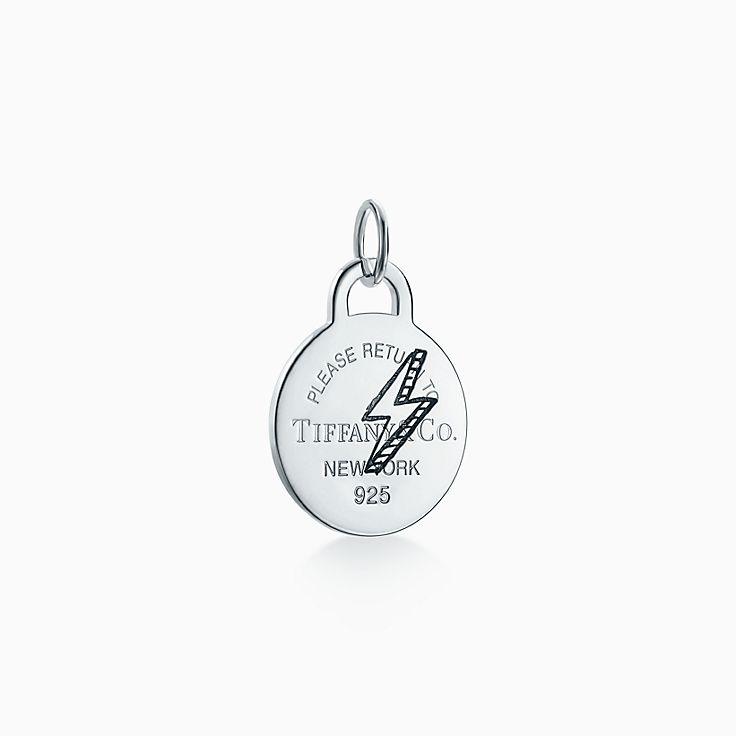 Return to Tiffany®:Etched Lightning Bolt Round Tag Charm