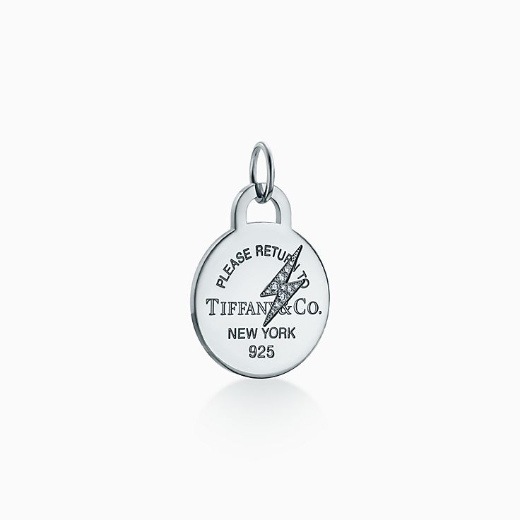 Return to Tiffany™:Etched Lightning Bolt Round Tag Charm