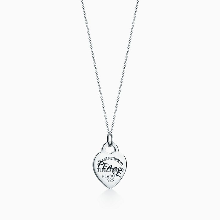 Return to Tiffany®:Etched Peace Heart Tag Charm