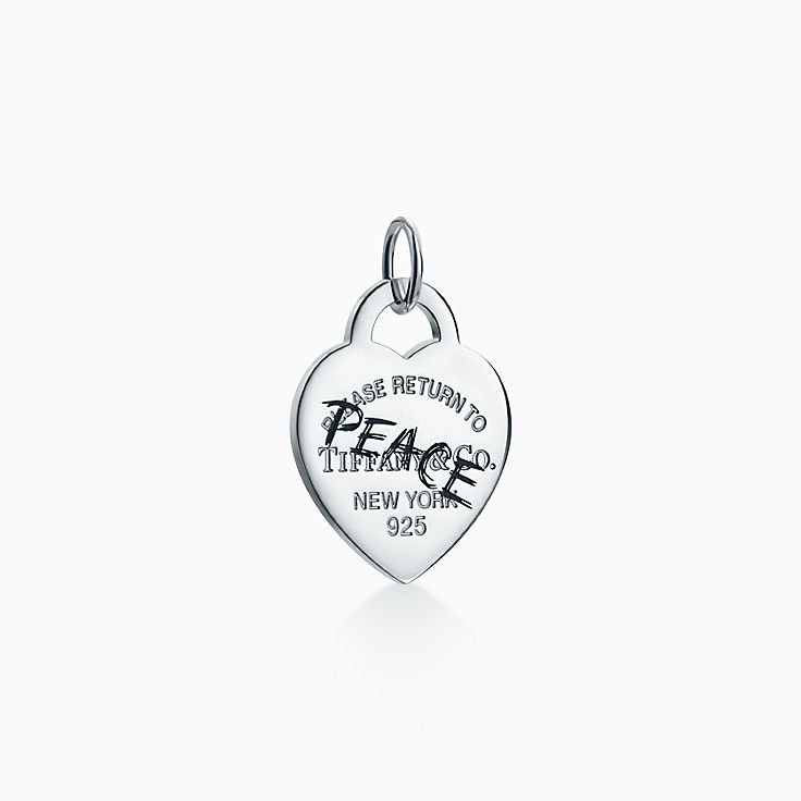 Return to Tiffany™:Etched Peace Heart Tag Charm
