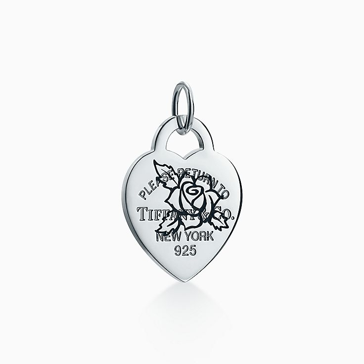 Return to Tiffany®:Etched Rose Heart Tag Charm