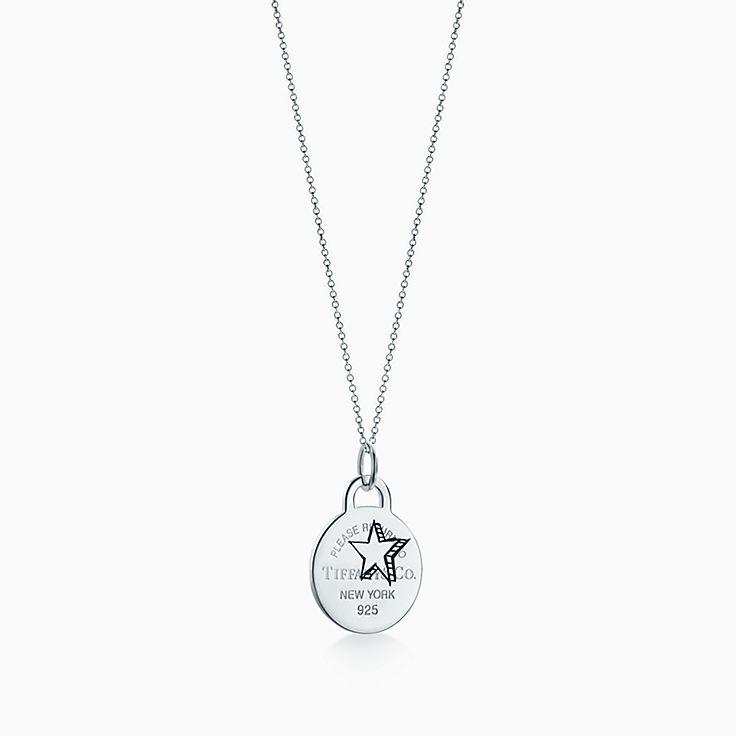 Return to Tiffany(MC):Breloque Plaque ronde Étoile gravée