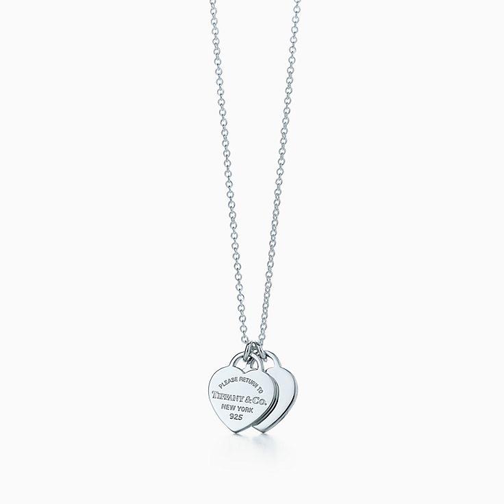 Return to Tiffany™:Pendentif double Plaque Cœur Mini
