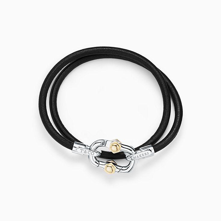 Tiffany 1837™:Makers Браслет из черного шнурка из телячьей кожи со стерлинговым серебром и золотом 18карат