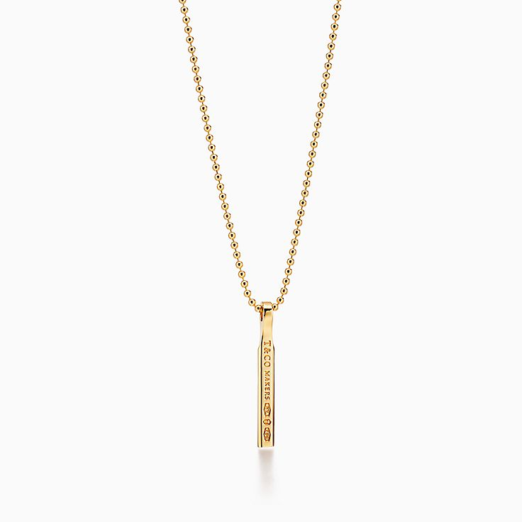 Tiffany 1837™:Makers Bar Pendant in 18k Gold, 24""