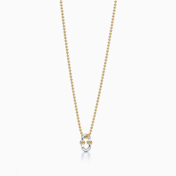 Tiffany 1837™:Makers Clip Pendant in 18k Gold and Sterling Silver, 24""