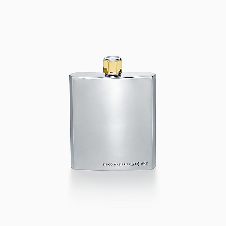 Tiffany 1837:Makers Flask in Sterling Silver and Brass