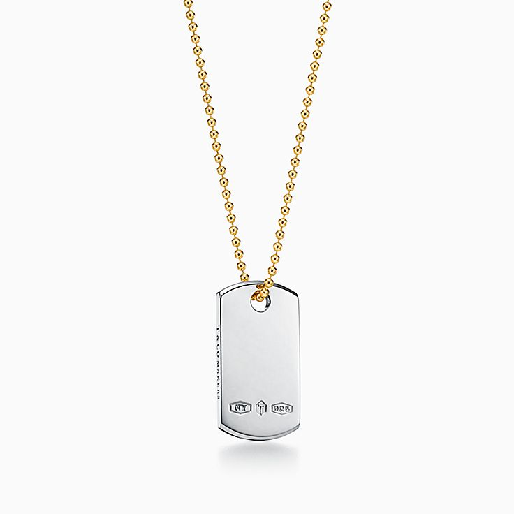 Tiffany 1837™:Makers I.D. Tag Pendant in Sterling Silver and 18k Gold, 24""