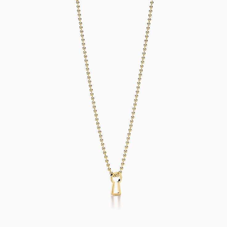 Tiffany 1837™:Makers Keyhole Pendant in 18k Gold, 24""