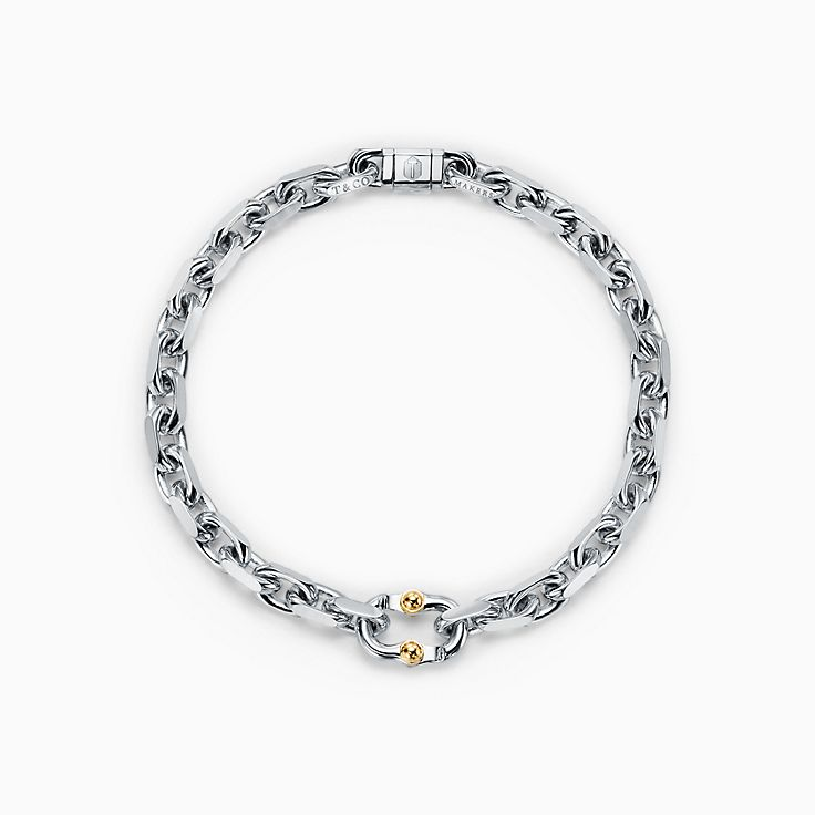 Tiffany 1837™:Makers Narrow Chain Bracelet in Sterling Silver and 18k Gold