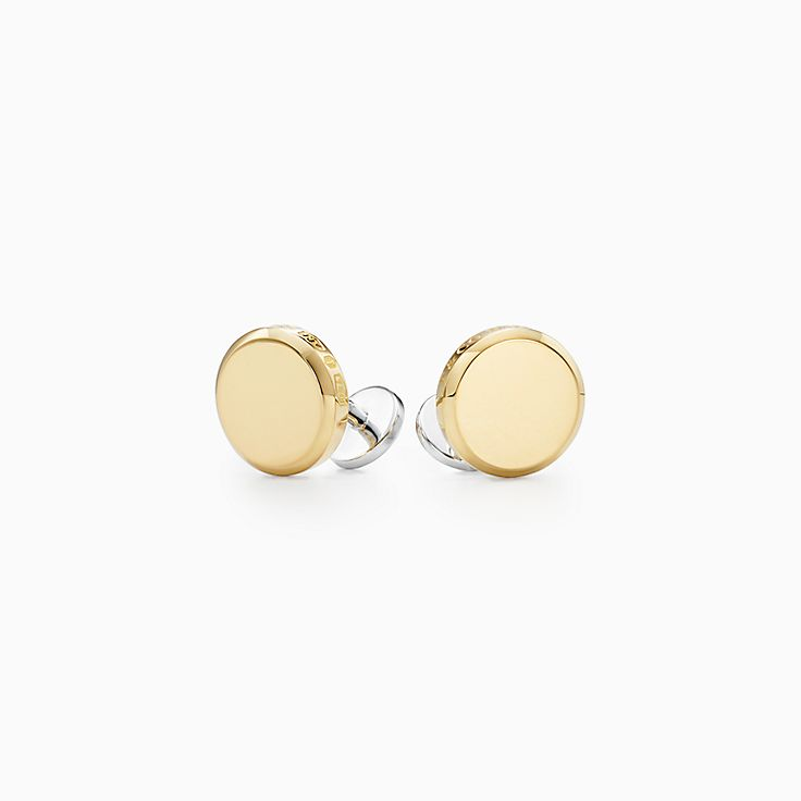 Tiffany 1837™:Makers runde Manschettenknöpfe in 18KaratGold und Sterlingsilber