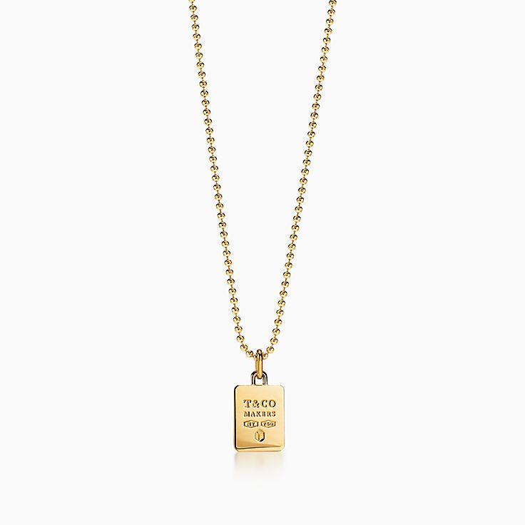 "Tiffany 1837™:Makers Square Pendant in 18k Gold, 24"""