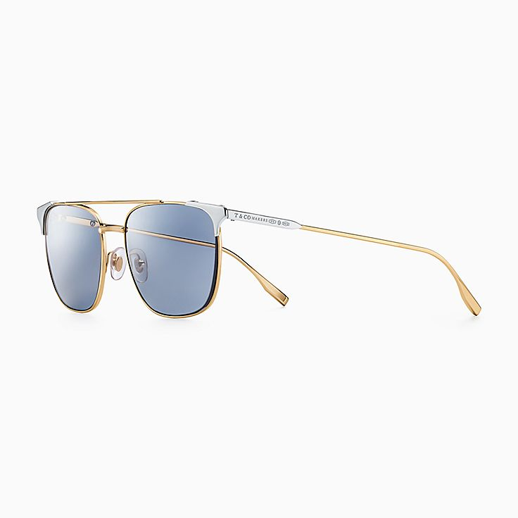 Tiffany 1837:Makers Sunglasses in Gold-plated Metal with Sterling Silver Accents