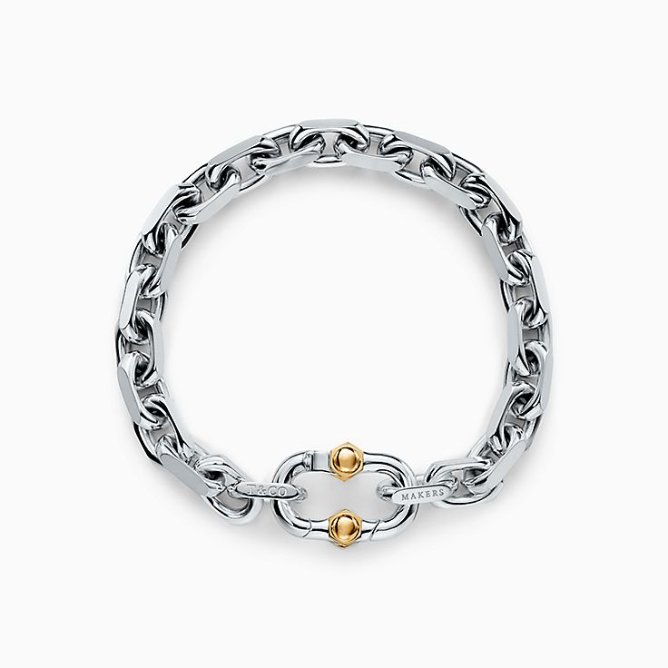 Tiffany 1837™:Makers Wide Chain Bracelet in Sterling Silver and 18k Gold
