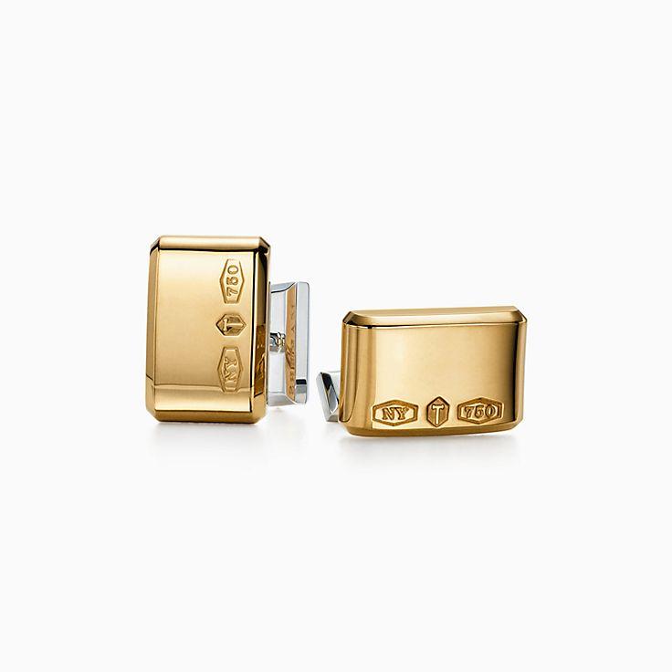 Tiffany 1837(MC):Boutons de manchette rectangulaires Makers en or 18carats et argent sterling