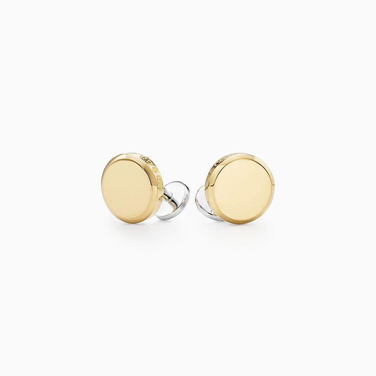 Tiffany 1837(MC):Boutons de manchette ronds Makers en or 18carats et argent sterling