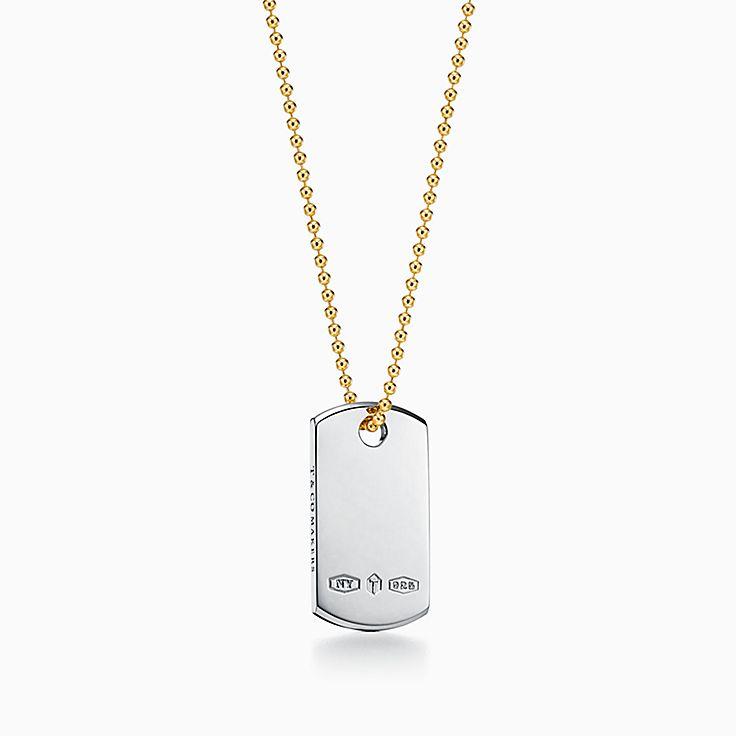 Tiffany 1837™:Pendente de etiqueta de I.D. Makers em prata de lei e ouro 18k, 61cm