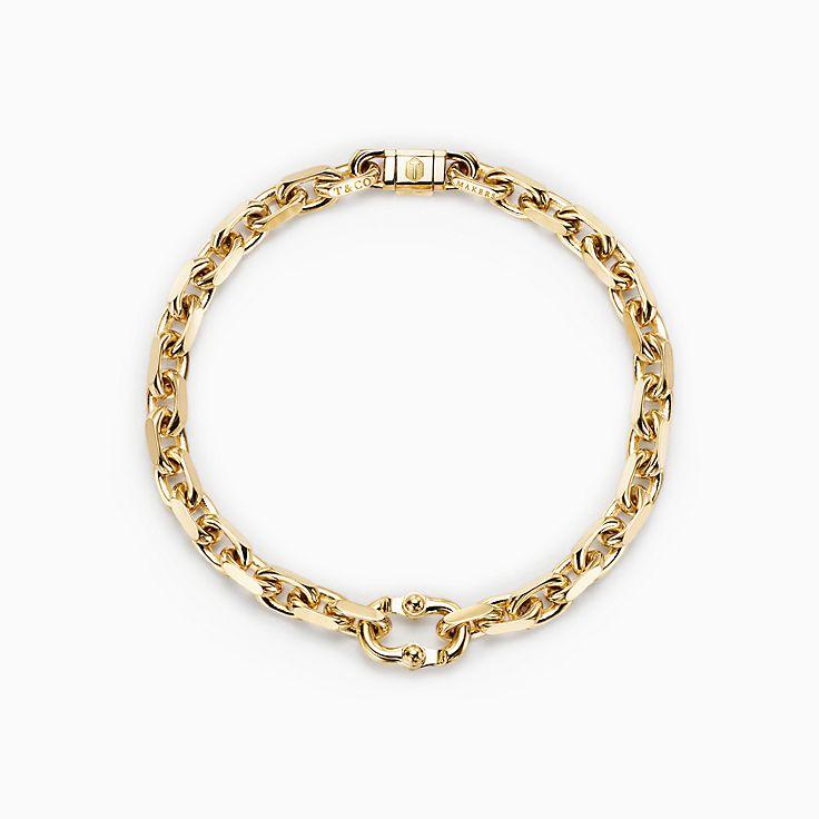 Tiffany 1837™:Pulseira de elos Makers estreita em ouro 18k