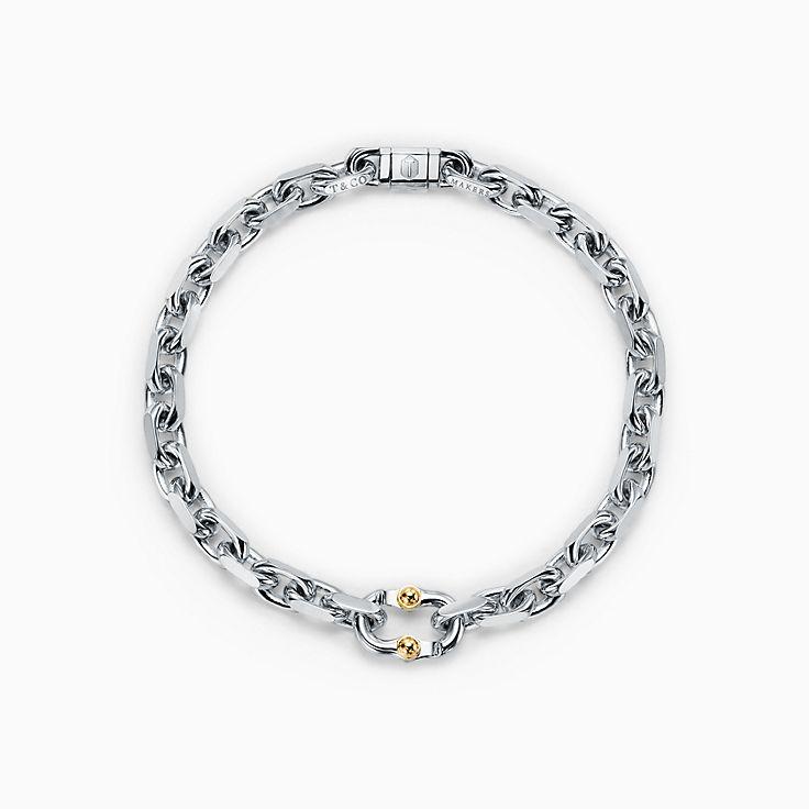 Tiffany 1837™:Pulseira de elos Makers estreita em prata de lei e ouro 18k