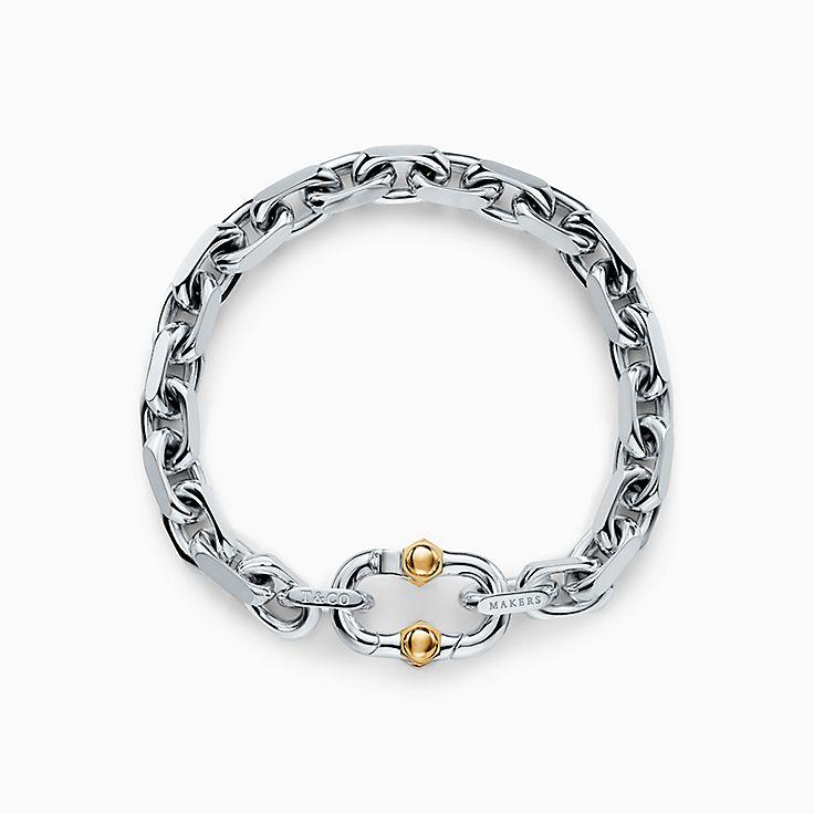 Tiffany 1837™:Pulseira de elos Makers larga em prata de lei e ouro 18k