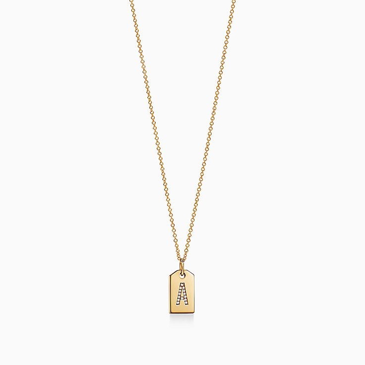 Tiffany Charms:Mini Alphabet Tag Charm