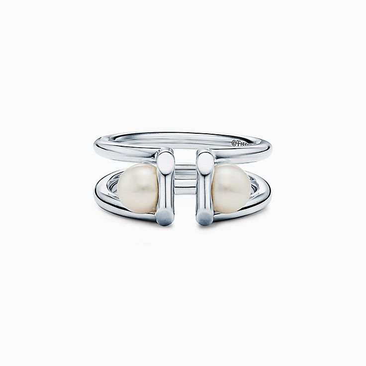 Tiffany City HardWear:Double Pearl Ring in Sterling Silver