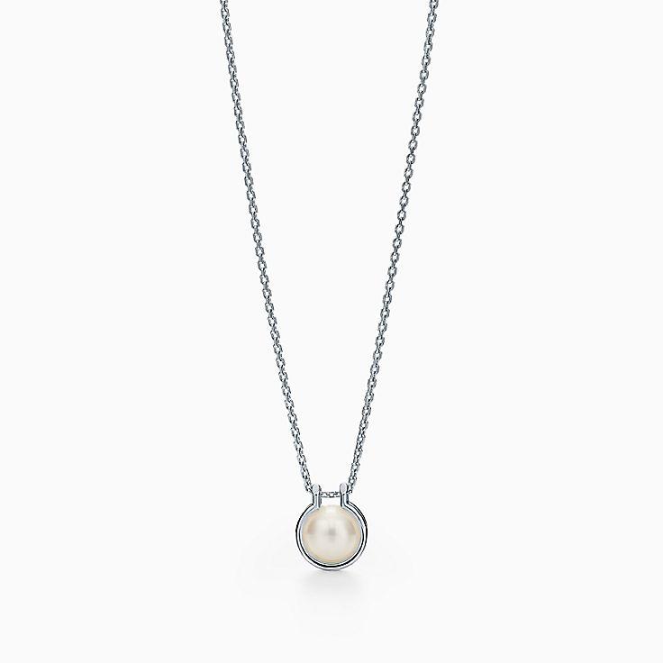 """Tiffany City HardWear:Freshwater Pearl Link Pendant in Sterling Silver, 16–18"""""""