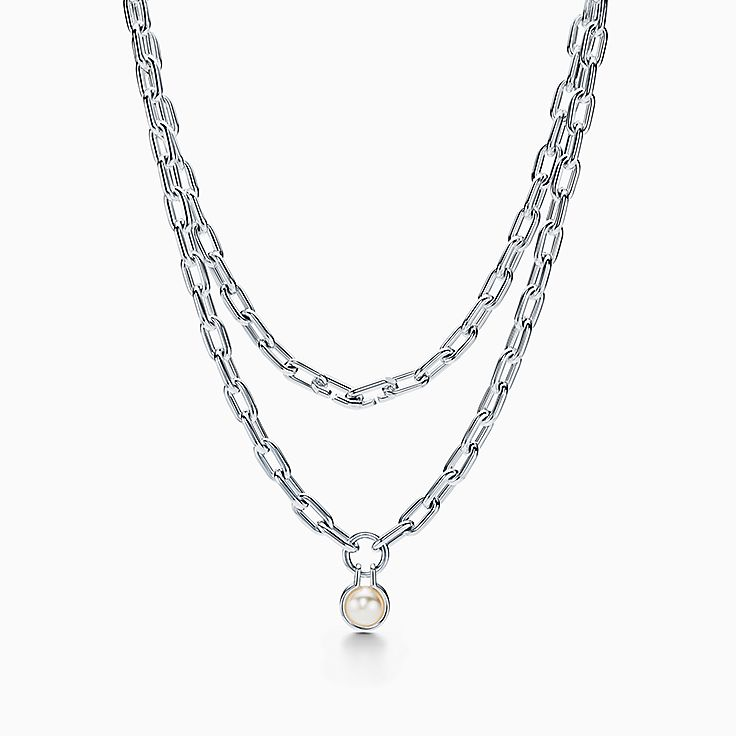 Tiffany City HardWear:Freshwater Pearl Necklace in Sterling Silver, 32""
