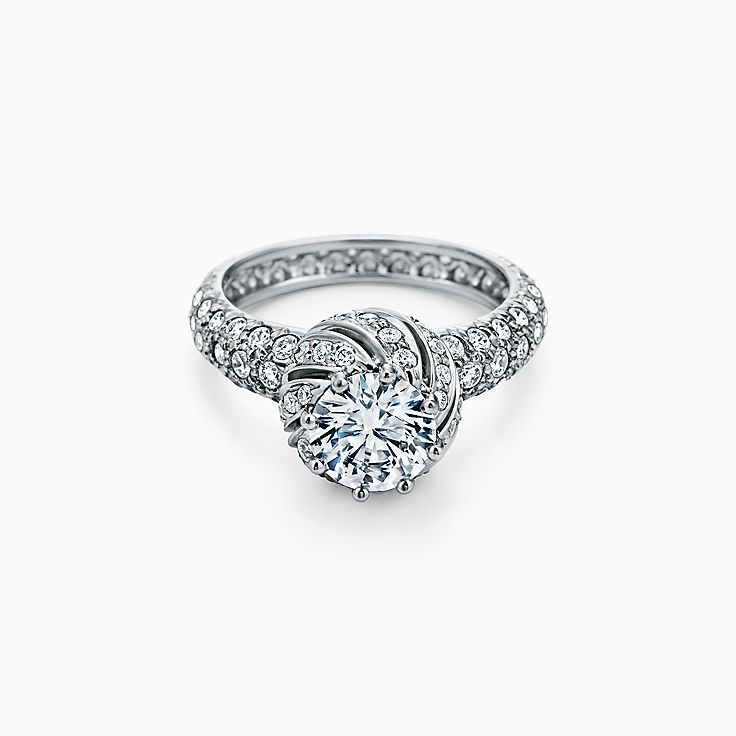 Tiffany & Co. Schlumberger Buds Round Brilliant Engagement Ring with a Diamond Platinum Band