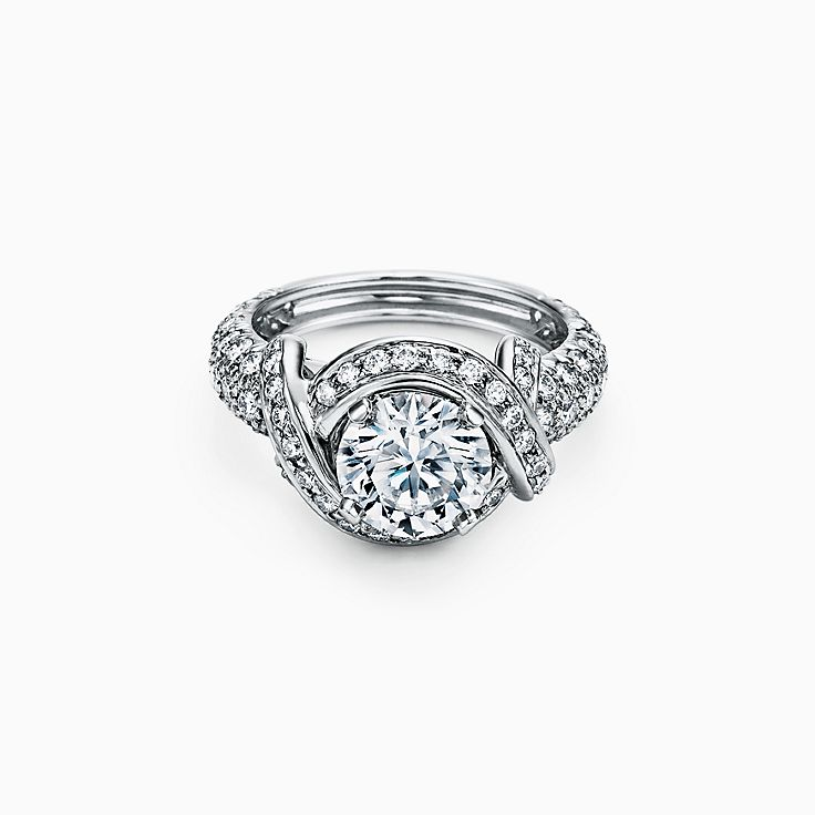Tiffany & Co. Schlumberger Round Brilliant Engagement Ring with a Diamond Platinum Band