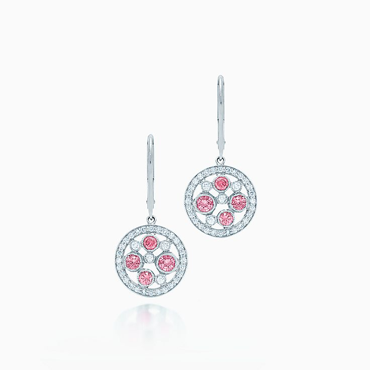 Tiffany Cobblestone:Pink Sapphire Earrings