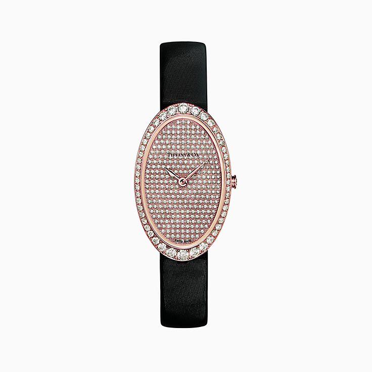 Tiffany Cocktail:Reloj de 22 x 34mm con pavé y 2 manecillas
