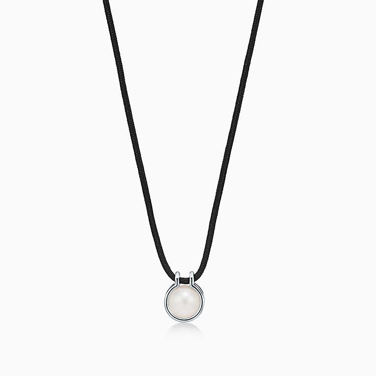 Tiffany HardWear:Подвеска из стерлингового серебра с пресноводной жемчужиной и шелком, 66см