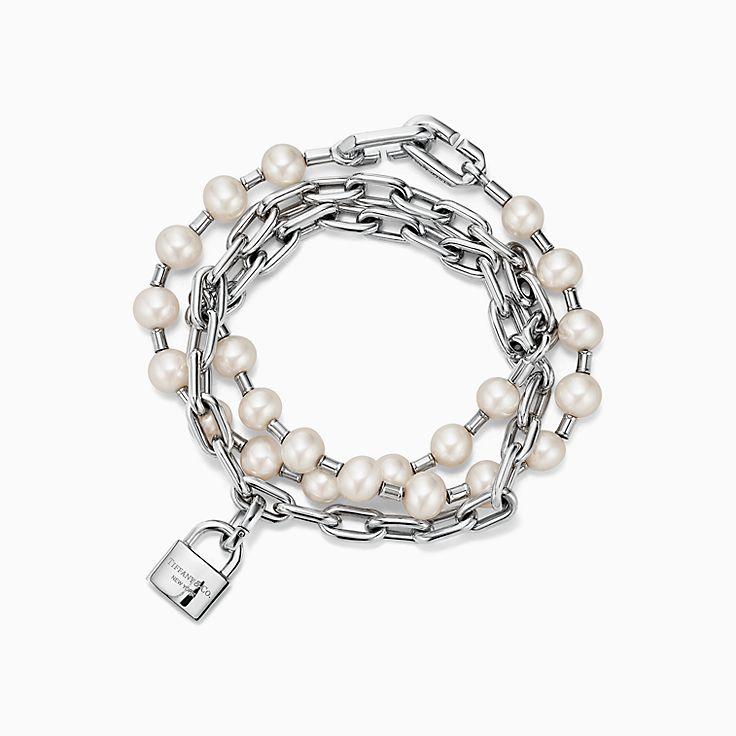 Tiffany HardWear:Браслет с замком из стерлингового серебра с пресноводным жемчугом