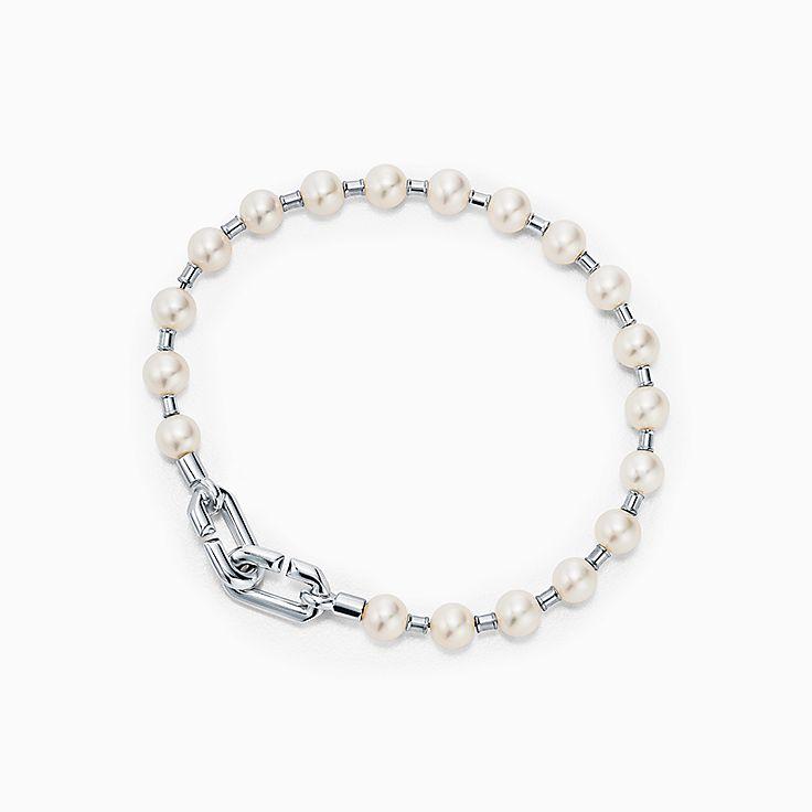 Tiffany HardWear:Браслет из стерлингового серебра с пресноводным жемчугом