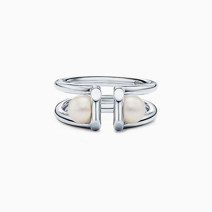 Tiffany HardWear:Double Pearl Ring in Sterling Silver