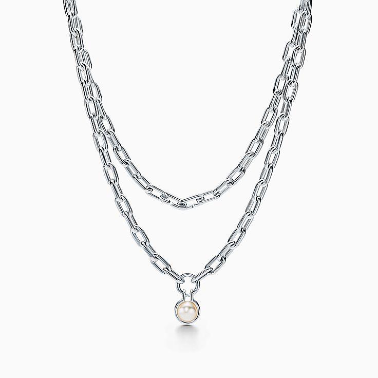 "Tiffany HardWear:Freshwater Pearl Necklace in Sterling Silver, 32"""