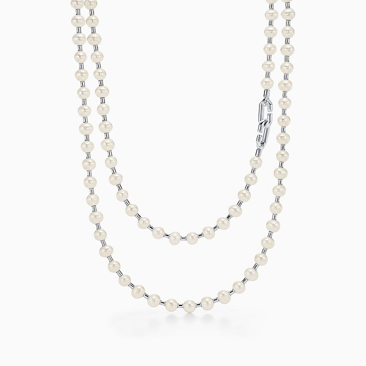"""Tiffany HardWear:Freshwater Pearl Wrap Necklace in Sterling Silver, 32"""""""