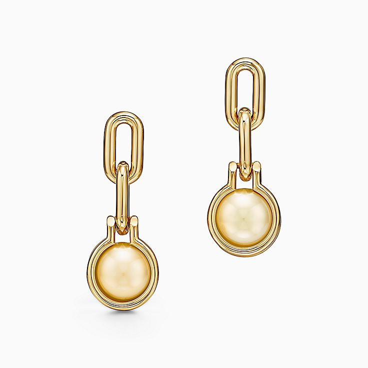 Tiffany HardWear:South Sea Golden Pearl Link Earrings in 18k Gold