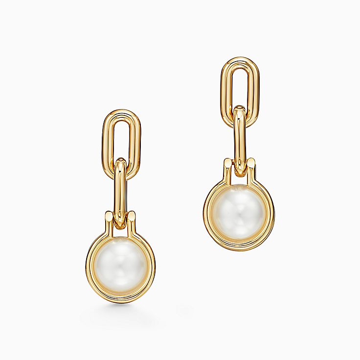 Tiffany HardWear:South Sea Pearl Link Earrings in 18k Gold