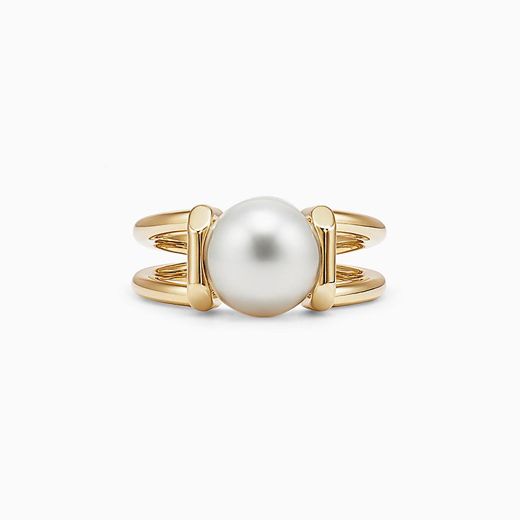 Open Circle Pearl Ring Open pearl statement ring. Large Pearl ring Statement Open Oval Pearl Ring Gold
