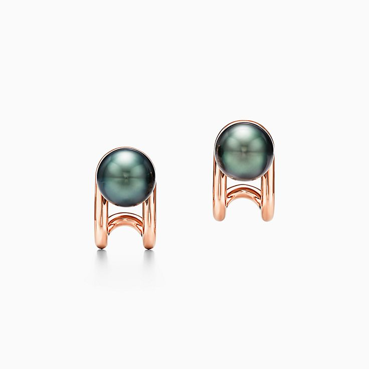 Tiffany HardWear:Tahitian Pearl Earrings in 18k Rose Gold