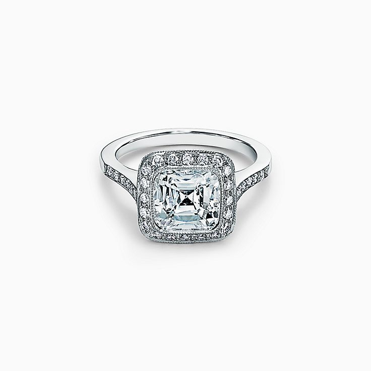 Tiffany Legacy™ Engagement Ring with a Diamond Band in Platinum