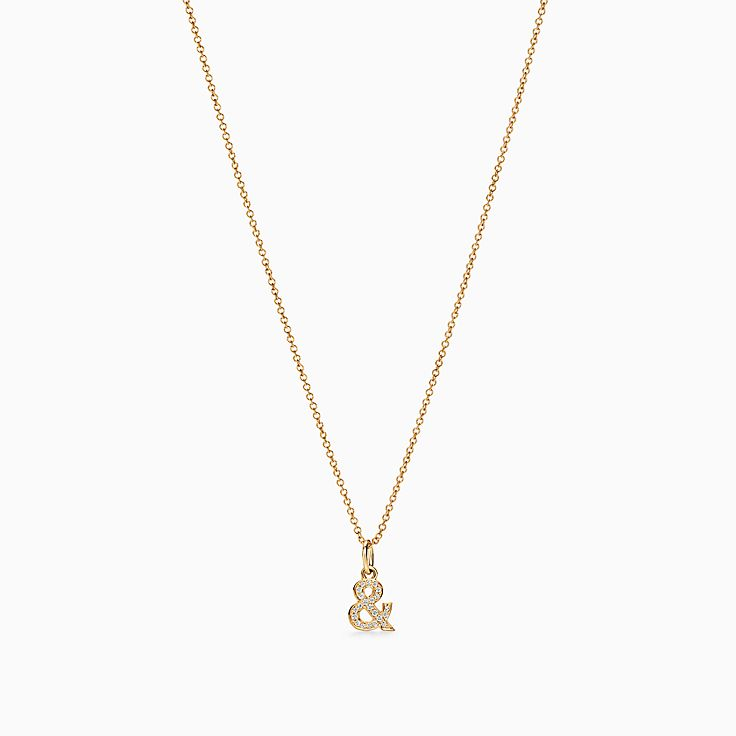 Tiffany & Love:Ampersand Pendant in 18k Gold with Diamonds