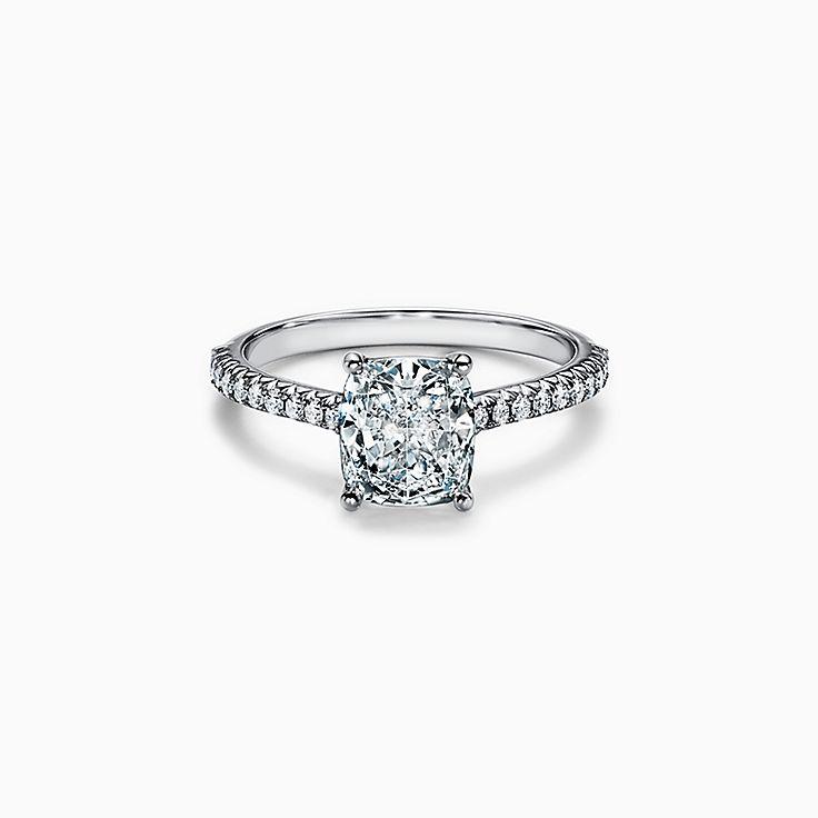 Tiffany Novo® Cushion-cut Engagement Ring with a Pavé Diamond Platinum Band
