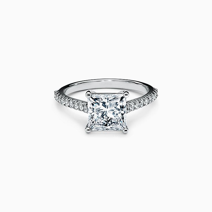 Tiffany Novo® Princess-cut Engagement Ring with a Pavé-set Diamond Band in Platinum