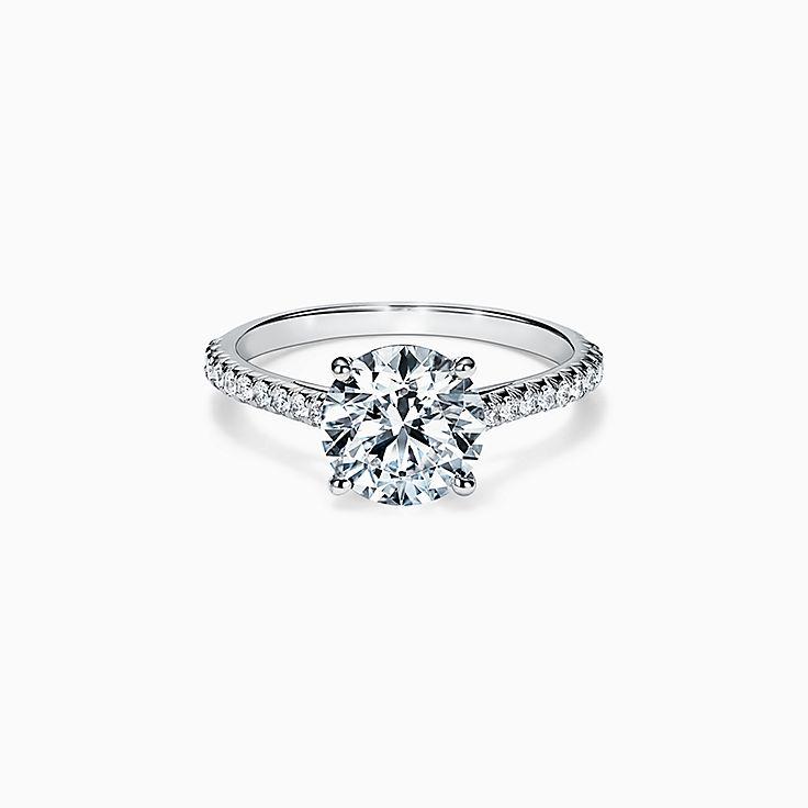 Tiffany Novo® Round Brilliant Engagement Ring with a Pavé Diamond Platinum Band