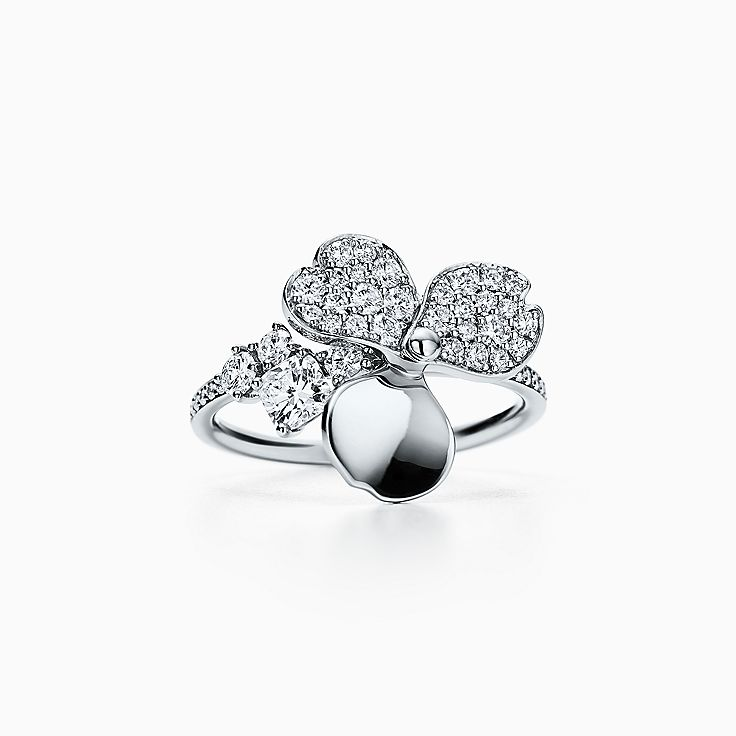 Tiffany Paper Flowers:鑽石花卉戒指